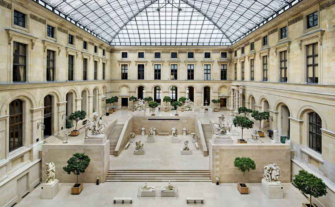 Louvre museum is divided in wings and departments