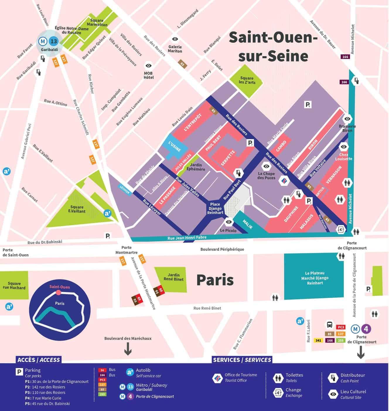 mapa mercado pulgas de paris