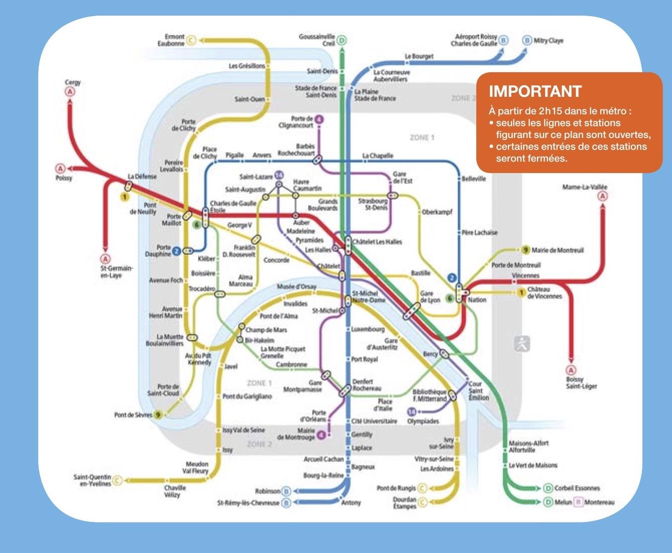 Funcionamento do metrô de Paris na virada do ano