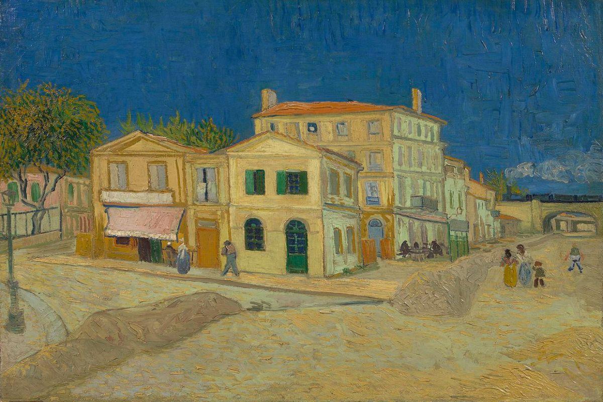 A Casa Amarela, onde Van Gogh morou na cidade de Arles, retratada pelo pintor.