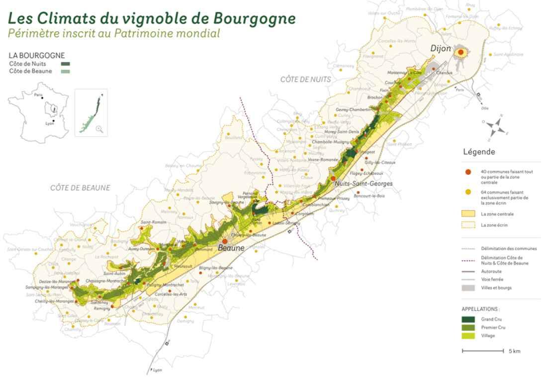 1.247 climats da Borgonha, concentrados em 60 km da Côte D'or, são hoje considerados Patrimônio da Humanidade pela Unesco.