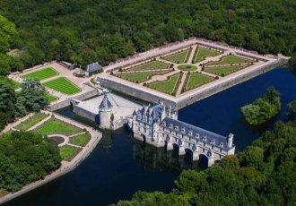 Vista aerea Castelo Chenonceau no Vale do Loire França