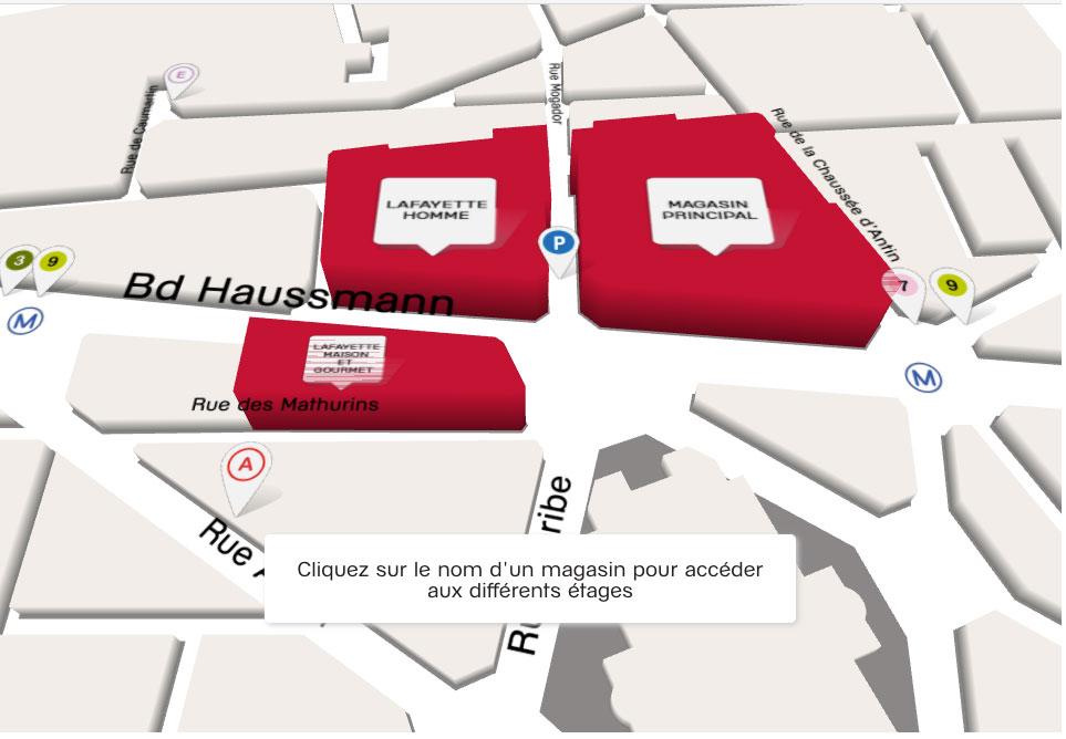 Galeria Lafayette, mapa das lojas Boulevard Haussmann