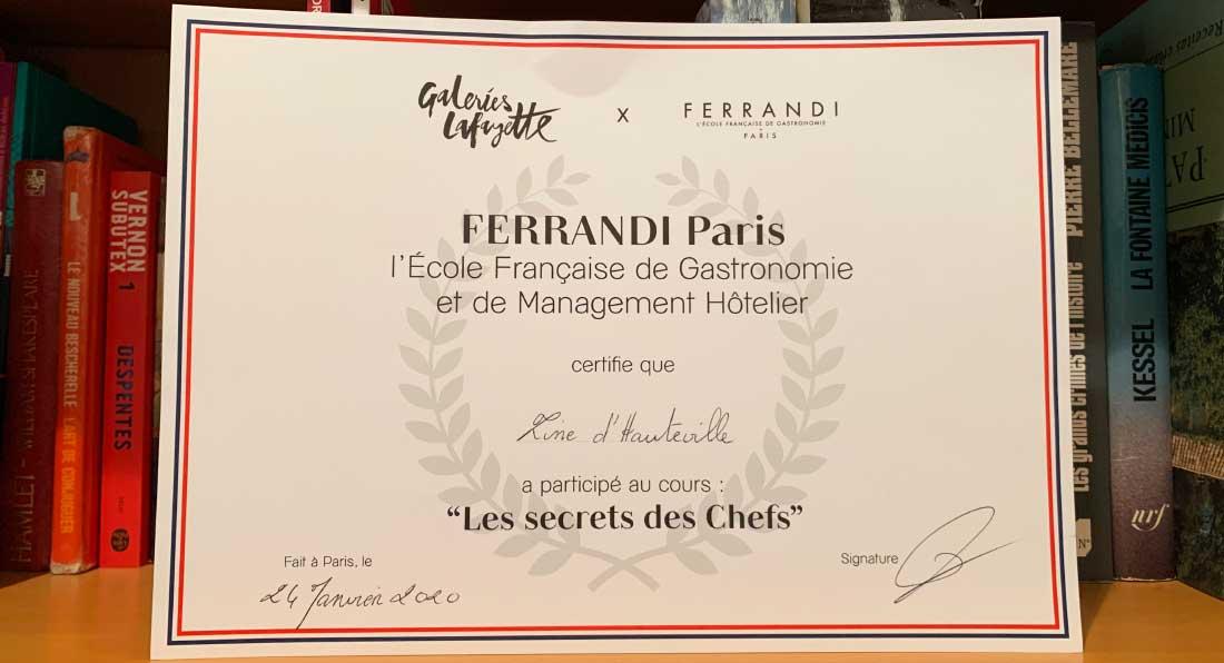 Diploma da Escola Ferrandi em parceria com Galerias Lafayette Gourmet
